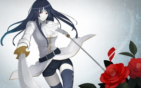 Picture girl, roses, stockings, swords, red eyes, Gintama, Gin Tama, Imai Nobume