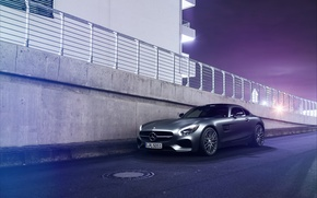 Picture Mercedes-Benz, Light, Purple, Front, AMG, Grey, Supercar, GT S