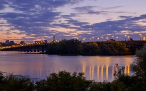 Picture bridge, river, the evening, Ukraine, Kiev, Dnepr
