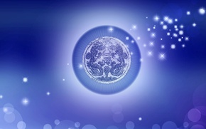Picture background, round, dragons, characters, fringe, brought blue. stars