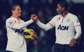 Picture Manchester United, Javier Hernandez, Antonio Valencia, Matchday