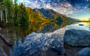 Picture autumn, forest, the sky, mountains, lake, stone, hdr, Wyoming, USA, Jenny Lake