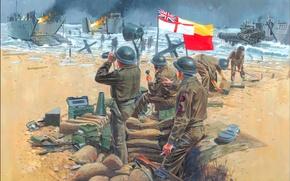 Picture sand, sea, shore, technique, operation, military, landing, WW2