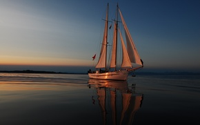 Wallpaper sea, stay, the evening, yacht, sails, journey, of the sunset