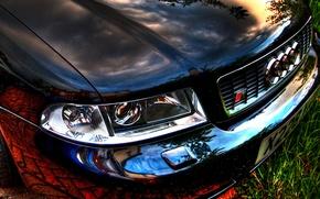 Wallpaper reflection, audi, the hood, chrome, bumper