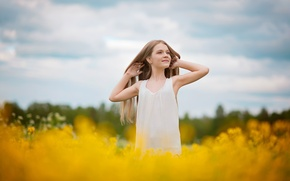 Picture field, summer, joy, happiness, flowers, hair, girl