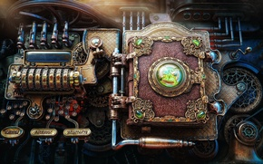 Picture fiction, mechanism, steampunk, book, render, steampunk, Aleksandr Kuskov, alekscg