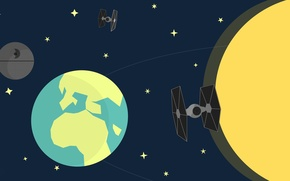 Picture space, The moon, Earth, star wars, star wars, the death star, galaxy, Kobe Vervoort, Designed
