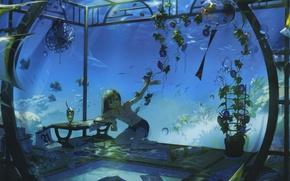 Picture fish, bubbles, room, shorts, aquarium, plants, shark, fan, girl, calendar, vest, bells wind, by Anmi