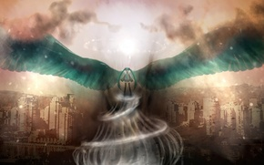 Picture the sky, girl, clouds, the city, wings, anime, art, vortex, vocaloid, Hatsune Miku, Vocaloid