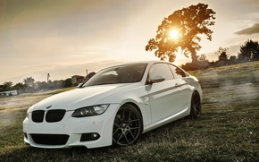 Picture Field, Grass, BMW, Tuning, White, BMW, Drives, Coupe, E92, Coupe, Deep Concave, E92