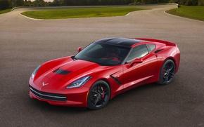 Picture Red, Auto, Corvette, Chevrolet, Asphalt, Sports car