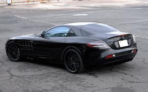 Picture asphalt, cracked, reflection, black, black, Mercedes Benz, rear view, SLR McLaren, Mercedes Benz, SLR McLaren