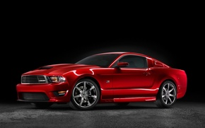 Picture red, mustang, Saleen, muscle car