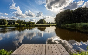 Picture forest, clouds, river, pier, Netherlands, rays of light, Edam