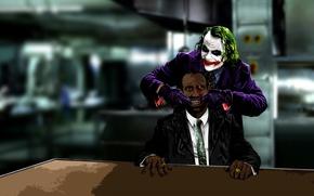 Picture card, look, smile, style, labels, batman, Joker, the film, black, blood, dark, clown, art, monkey, ...
