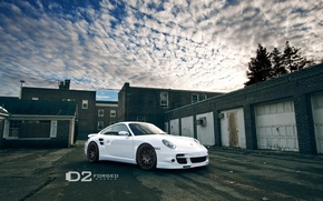 Picture Porsche, White, D2 Wheels