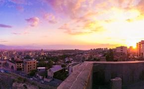 Picture the sky, the sun, landscape, sunset, cascade, Armenia, Armenia, Yerevan, Yerevan, ponoramma, panorama
