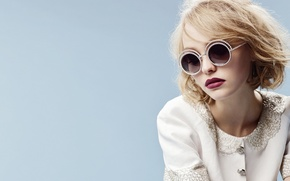Picture girl, face, background, actress, glasses, blonde, lips, Chanel, Lily-Rose Melody Depp, Lily-Rose Melody Depp
