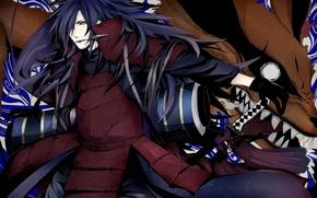 Picture weapons, katana, Fox, naruto, guy, ninja, Naruto, kunai, scroll, Madara, Uchiha, Madara, Rinnegan, Kyuubi