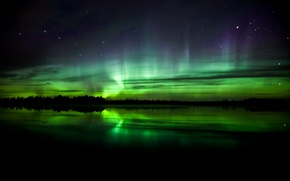 Wallpaper Northern lights, night, stars