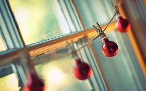Wallpaper balls, holiday, rope, background, light, window, Wallpaper, different, new year, the sun, clothespins