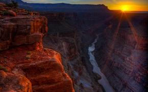 Picture sunset, mountains, river, rocks, canyon, AZ, USA, grand canyon national park