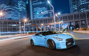 Picture city, nissan, wheels, japan, blue, jdm, tuning, gtr, front, speed, face, racing, r35, nismo, datsun