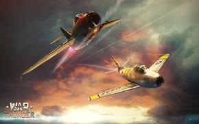 Wallpaper War Thunder, Flight, The sky, Figure, ART, Mikoyan, The MiG-15, fighter, Korea, Fagot, Gurevich, F-86, ...