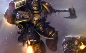 Wallpaper axe, armor, satchel, space Marines, the bolt, angels, warhammer 40k, bloody, blood, angels