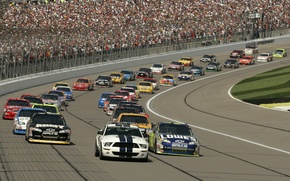 Picture background, people, cars, America, track, tribune, NASCAR