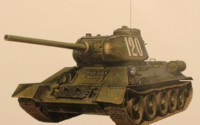 Picture tank, average, T-34-85, 85 mm