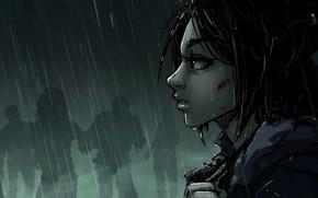 Picture look, blood, jacket, zombies, girl, zombie, blood, Art, rain, postapokalipsis, Katrin, kitsune, Kate-FoX, post apokalipsis