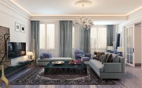 Picture design, sofa, interior, picture, chandelier, curtains, living room, plasma