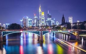 Picture night, bridge, lights, river, home, skyscrapers, Germany, lights, Frankfurt
