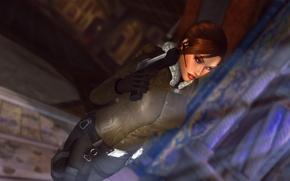 Picture look, girl, face, gun, weapons, the game, gloves, lara croft, tomb raider, Lara Croft