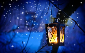 Picture snow, fire, lantern, twilight