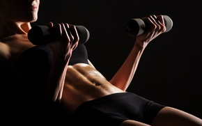 Picture perspiration, fitness, dumbbells, pose, woman