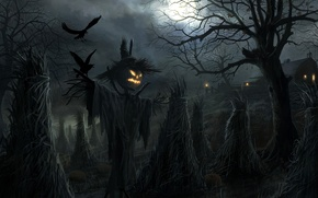 Picture crows, Halloween, Scarecrow