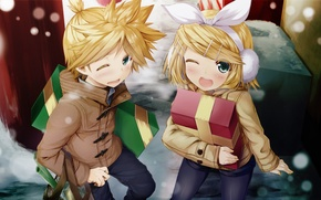 Picture winter, girl, music, holiday, gift, new year, anime, guy, vocaloid, kagamine rin, Vocaloid, kagamine len