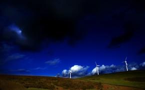 Picture windmills, grass, hills