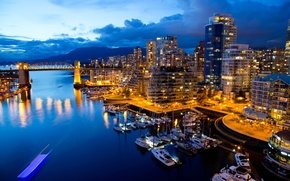 Picture water, night, bridge, lights, reflection, building, boats, pier, Canada, Vancouver