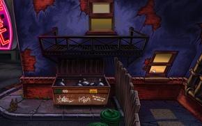 Wallpaper window, barurero, Larry Reloaded, fire escape, bottle remedies
