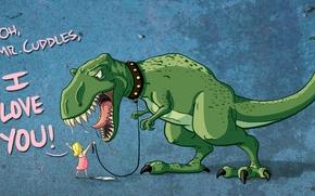 Picture love, dinosaur, Girl, love, drool