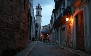 Picture the city, people, street, lights, Church, sunrise, Cuba, city, Havana