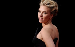 Picture model, actress, Scarlett Johansson, blonde, Scarlett Johansson, beauty, black background
