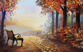 Picture autumn, leaves, trees, landscape, nature, art, shop, painting, time of the year