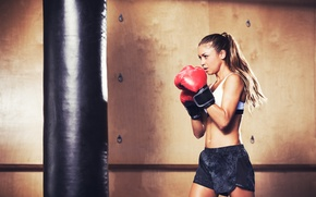 Picture woman, boxing, training