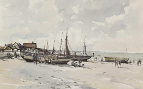 Wallpaper Beach Scene. Kessingland. Suffolk, watercolor, picture, landscape, Edward Seago