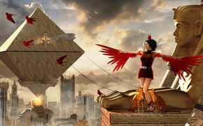 Picture cat, the sky, cat, birds, clouds, woman, building, wings, pyramid, new city of philaepolis